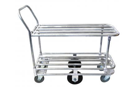 Our double deck gal tube stock trolley comes with 6 wheel configuration for manoeuvrability, 500kg heavy duty capacity & double deck size measuring 1000mm x 450mm. It's Ideal for transporting stock around retail stores, backroom & warehouses.
