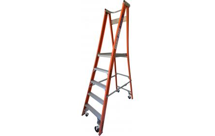 Our 5 step fiberglass platform ladders have 150kg capacity, 1.5M platform height & 2.4M total height. Its non conductive, with solid 90cm high guard rail & anti slip work platform. Made to conforms to Australian safety standards.