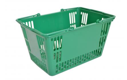 Green retail plastic shopping basket with 30 litre capacity & twin carry handles, it's the ideal shopping basket for supermarkets, fruit shops & general retail stores. It comes in a variety of colours & is fully customzable with your company logo.