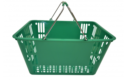 With 30 litre capacity & stable twin carry metal handles, this green shopping basket is the perfect  shopping basket for any retail stores. Our retail shopping baskets come in a variety of colours & are fully customizable with your company logo.