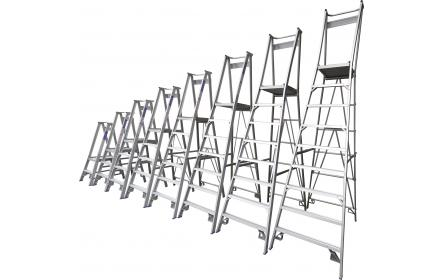 Our 12 step aluminium platform ladders have 150kg capacity, 3.6M platform height & 4.5M total height. It's constructed using high tensile structural aluminium alloy, solid 90cm high guard rail, anti slip work platform & moulded feet for added safety.