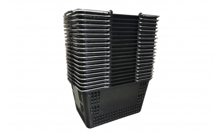 With 30 litre capacity & stable twin metal carry handles, this black shopping basket is the perfect  shopping basket for any retail stores. Our retail shopping baskets come in a variety of colours & are fully customizable with your company logo.