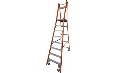 Our 8 step fiberglass platform ladders have 150kg capacity, 2.4M platform height & 3.4M total height. Its non conductive, with solid 90cm high guard rail & anti slip work platform. Made to conforms to Australian safety standards.