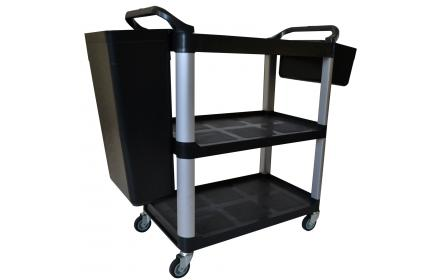 Our 3 tier hospitality trolley comes with plenty of room to store equipment, easy rubbish disposal & access to products. Perfect for food courts, restaurants, libraries, office, warehouse & personal use. Available now, ships Australia wide!