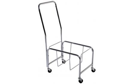 Retail shopping basket stands with wheels & handle holds 30L and 43L shopping baskets. Keep your shopping baskets neatly stacked.  Manufactured with heavy duty chrome plated steel tube, rubber wheels, built in foot brake & sturdy 45mm premium handle.