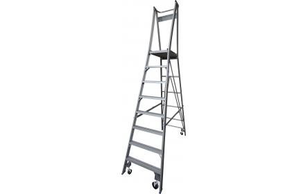 Our 8 step aluminium platform ladders have 150kg capacity, 2.4M platform height & 3.4M total height. It's constructed using high tensile structural aluminium alloy, solid 90cm high guard rail, anti slip work platform & moulded feet for added safety.