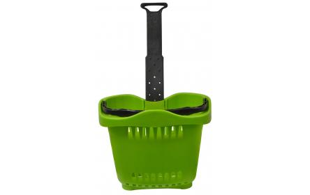 Lime green plastic shopping basket with wheels comes with 43 litre capacity, twin wheels & telescopic handles. It's the ideal rolling shopping basket for fruit shops, supermarkets & general retail stores. Fully customizable with your company logo.