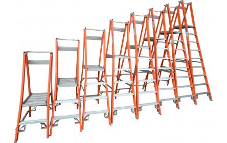 Our 12 step fiberglass platform ladders have 150kg capacity, 3.6M platform height & 4.5M total height. Its non conductive, with solid 90cm high guard rail & anti slip work platform. Made to conforms to Australian safety standards.