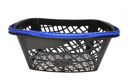 With 28 litre capacity & stylish blue carry handle, this curved shopping basket is the perfect  shopping basket for any retail stores. Our curved retail shopping baskets come in a variety of handle colours & are fully customizable with your company logo.