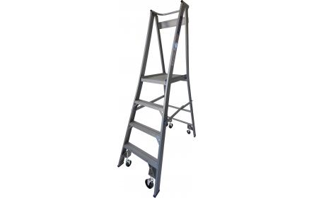 Our 4 step aluminium platform ladders have 150kg capacity, 0.9M platform height & 1.8M total height. It's constructed using high tensile structural aluminium alloy, solid 90cm high guard rail, anti slip work platform & moulded feet for added safety.