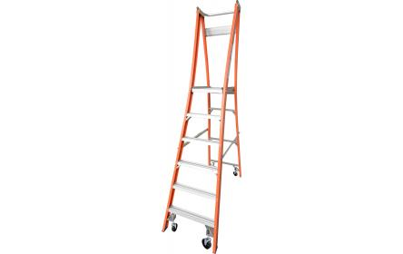 Our 6 step fiberglass platform ladders have 150kg capacity, 1.8M platform height & 2.7M total height. Its non conductive, with solid 90cm high guard rail & anti slip work platform. Made to conforms to Australian safety standards.