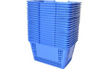 With 30 litre capacity & stable twin carry handles, this blue plastic shopping basket is the perfect  shopping basket for any retail stores. Our retail shopping baskets come in a variety of colours & are fully customizable with your company logo.