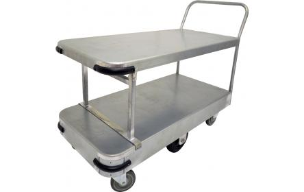 This large size double deck galvanised sheet stock trolley with 600kg capacity, 6 wheel configuration & single deck size of 1140mm x 565mm is the perfect backroom, storage and warehouse equipment. On sale now. Ships Australia wide!