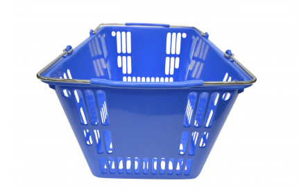 Our 30 litre blue retail shopping basket is the perfect hand carry shopping basket for fruit shops, supermarkets & general retail stores. This retail shopping basket comes in a variety of colours & is fully customzable with your company logo.