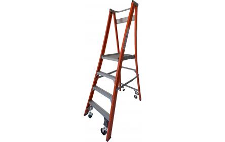 Our 4 step fiberglass platform ladders have 150kg capacity, 1.2M platform height & 2.1M total height. Its non conductive, with solid 90cm high guard rail & anti slip work platform. Made to conforms to Australian safety standards.