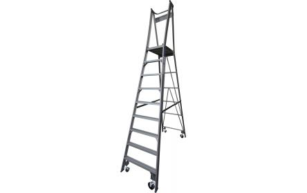Our 9 step aluminium platform ladders have 150kg capacity, 2.7M platform height & 3.7M total height. It's constructed using high tensile structural aluminium alloy, solid 90cm high guard rail, anti slip work platform & moulded feet for added safety.