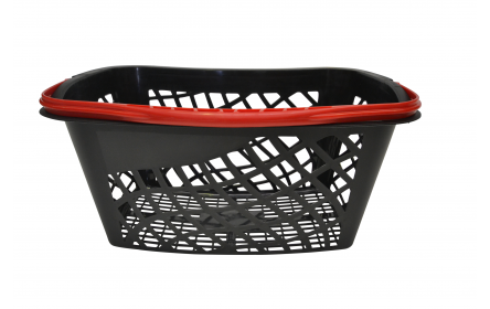 With 28 litre capacity & stylish red carry handle, this curved shopping basket is the perfect  shopping basket for any retail stores. Our curved retail shopping baskets come in a variety of handle colours & are fully customizable with your company logo.
