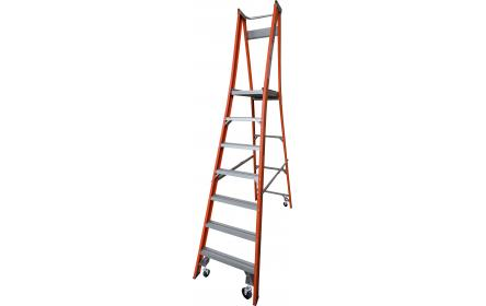 Our 7 step fiberglass platform ladders have 150kg capacity, 2.1M platform height & 3.0M total height. Its non conductive, with solid 90cm high guard rail & anti slip work platform. Made to conforms to Australian safety standards.