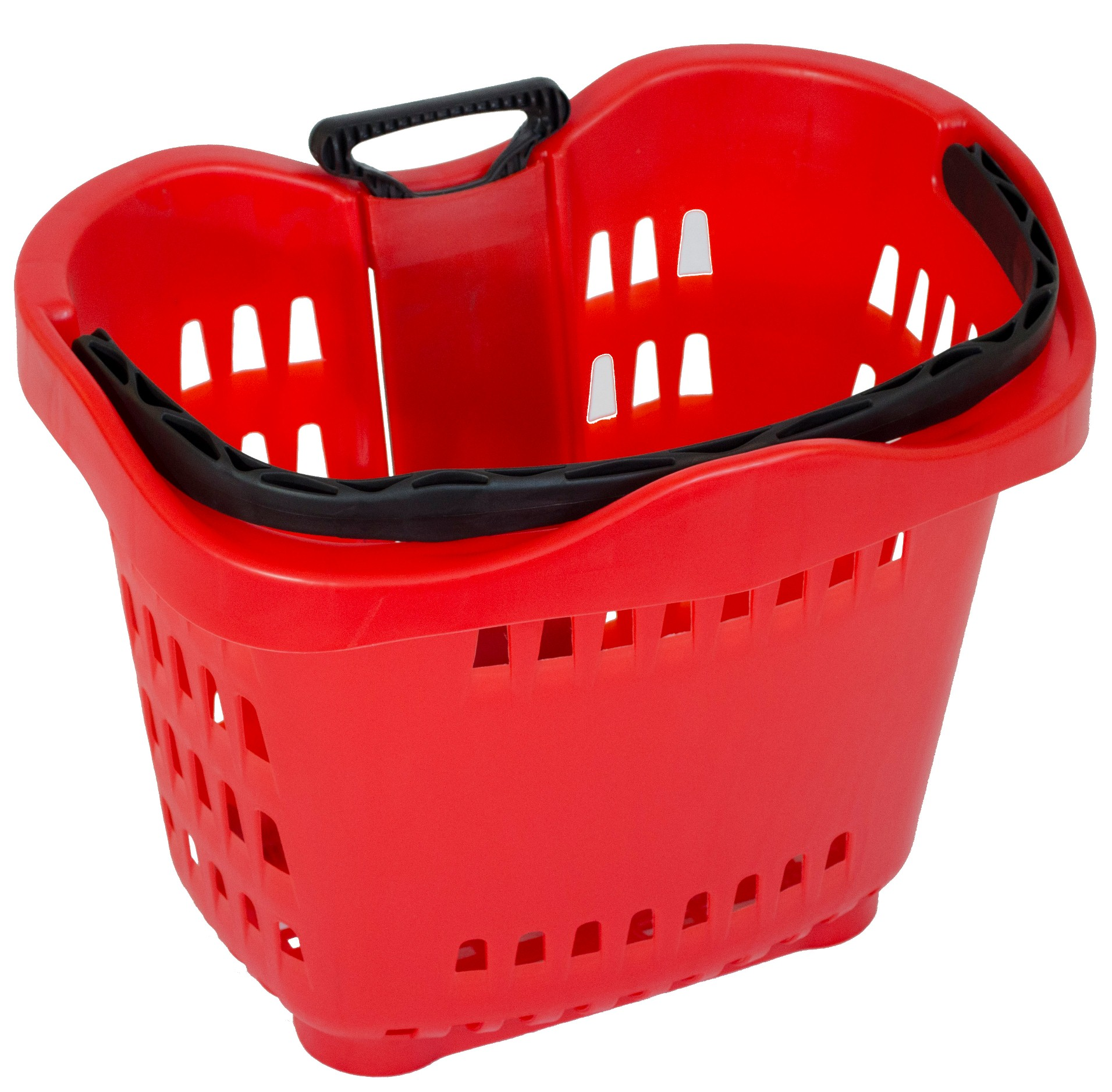 Our red plastic shopping baskets with wheels is the perfect shopping basket to suit any retail store. This rolling shopping baskets comes in a variety of colours & is fully customizable with your company logo. Ideal for supermarkets & fruit shops.