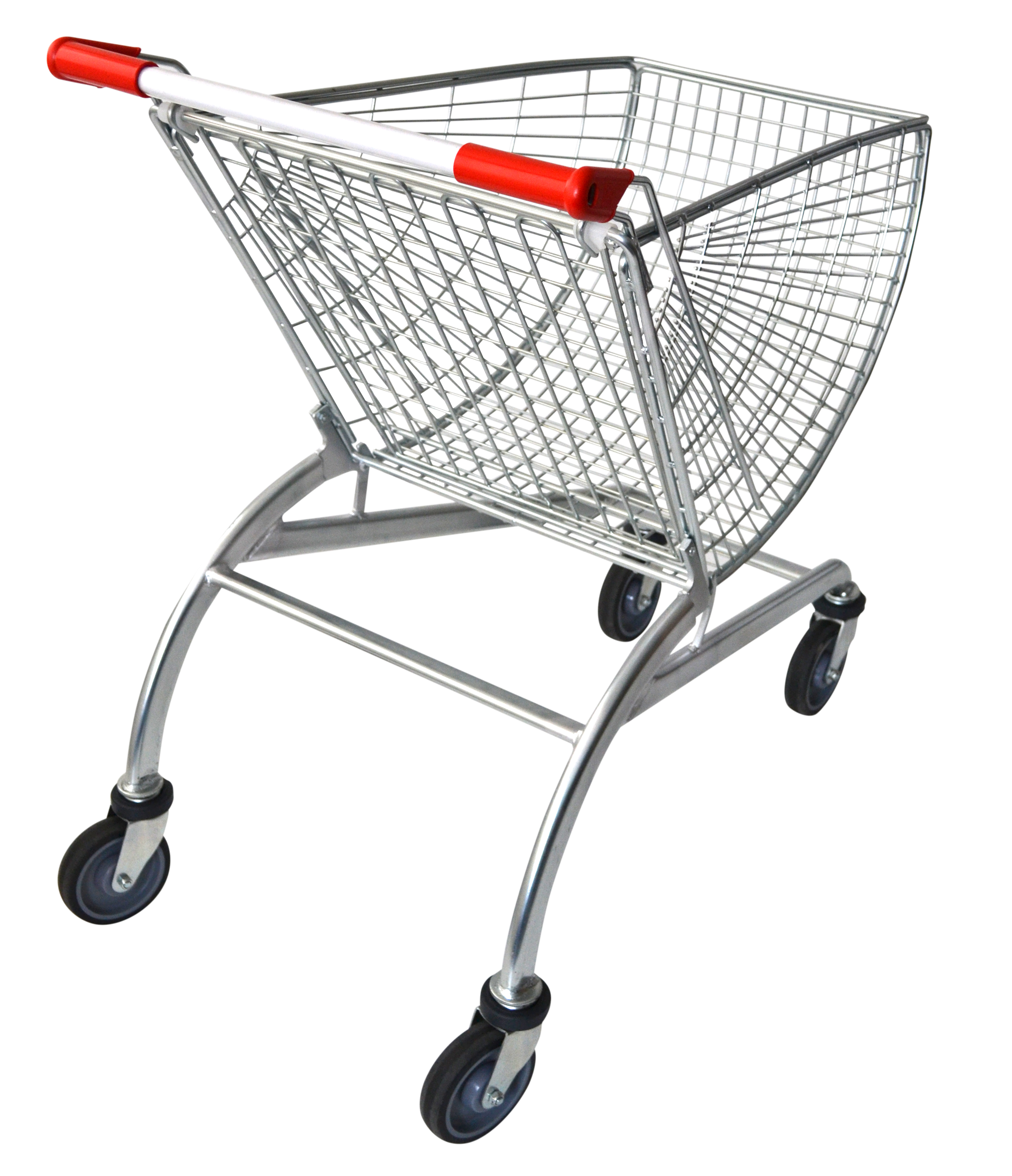 50 litre shopping trolley is made to suit supermarkets, fruit shops & small sized retail stores. It's zinc plated & clear laquered with option to customize the trolley handle with your company logo. Available now & ships Australia wide.