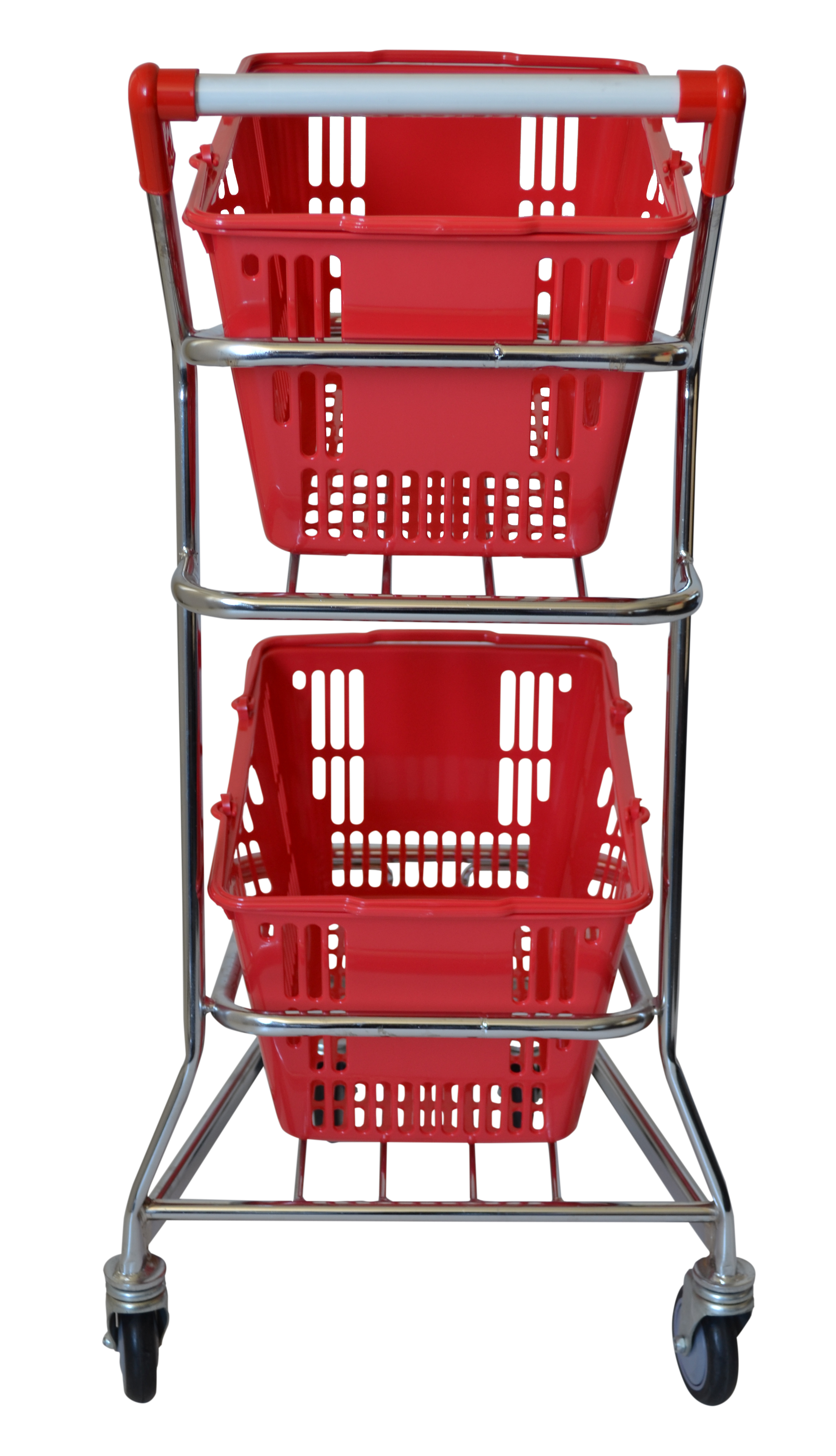 With 60 litre capacity, this 2 tiered shopping basket trolley is the perfect grocery trolley for small size supermarkets & convenience stores. It holds 2 x shopping baskets & is easily manouverable around narrow ailes. On sale now!