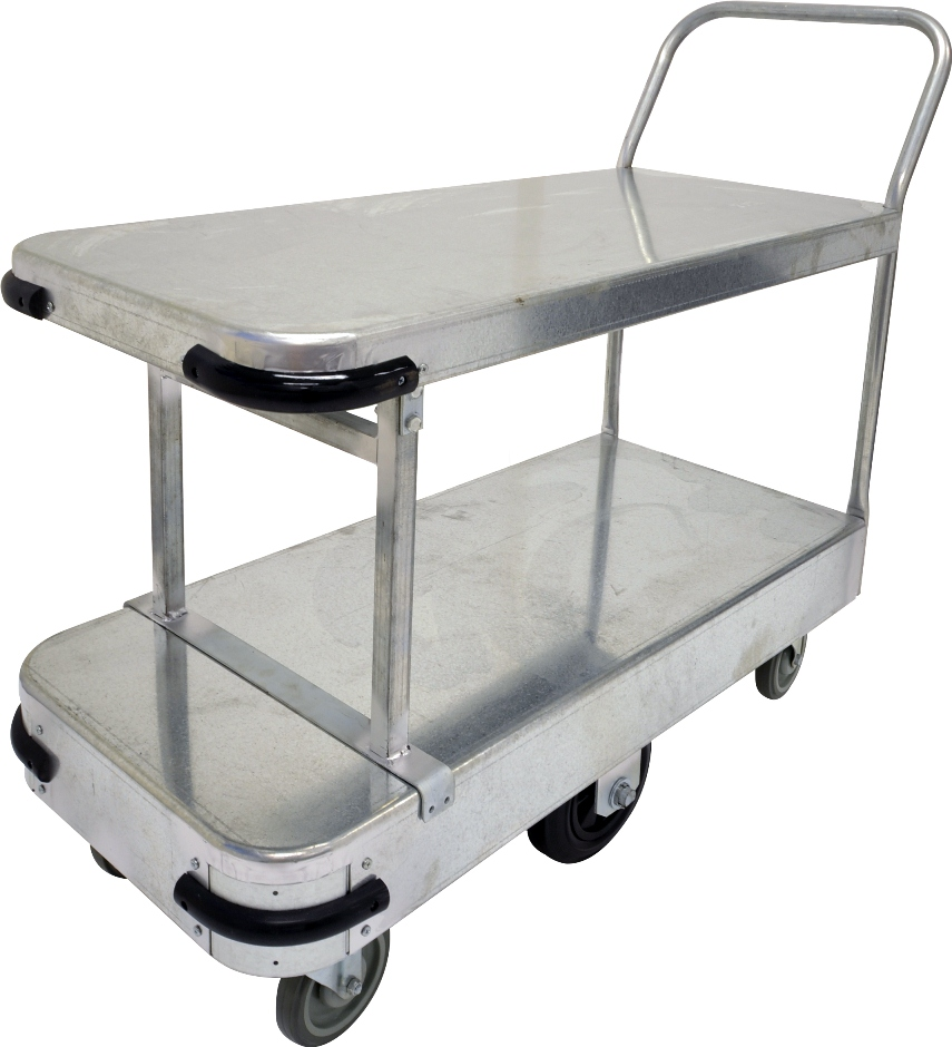 With 600kg capacity, 6 wheel configuration & double deck size of 990mm x 465mm, this small size double deck galvanised sheet stock trolley is the perfect backroom, storage and warehouse equipment. On sale now. Ships Australia wide!