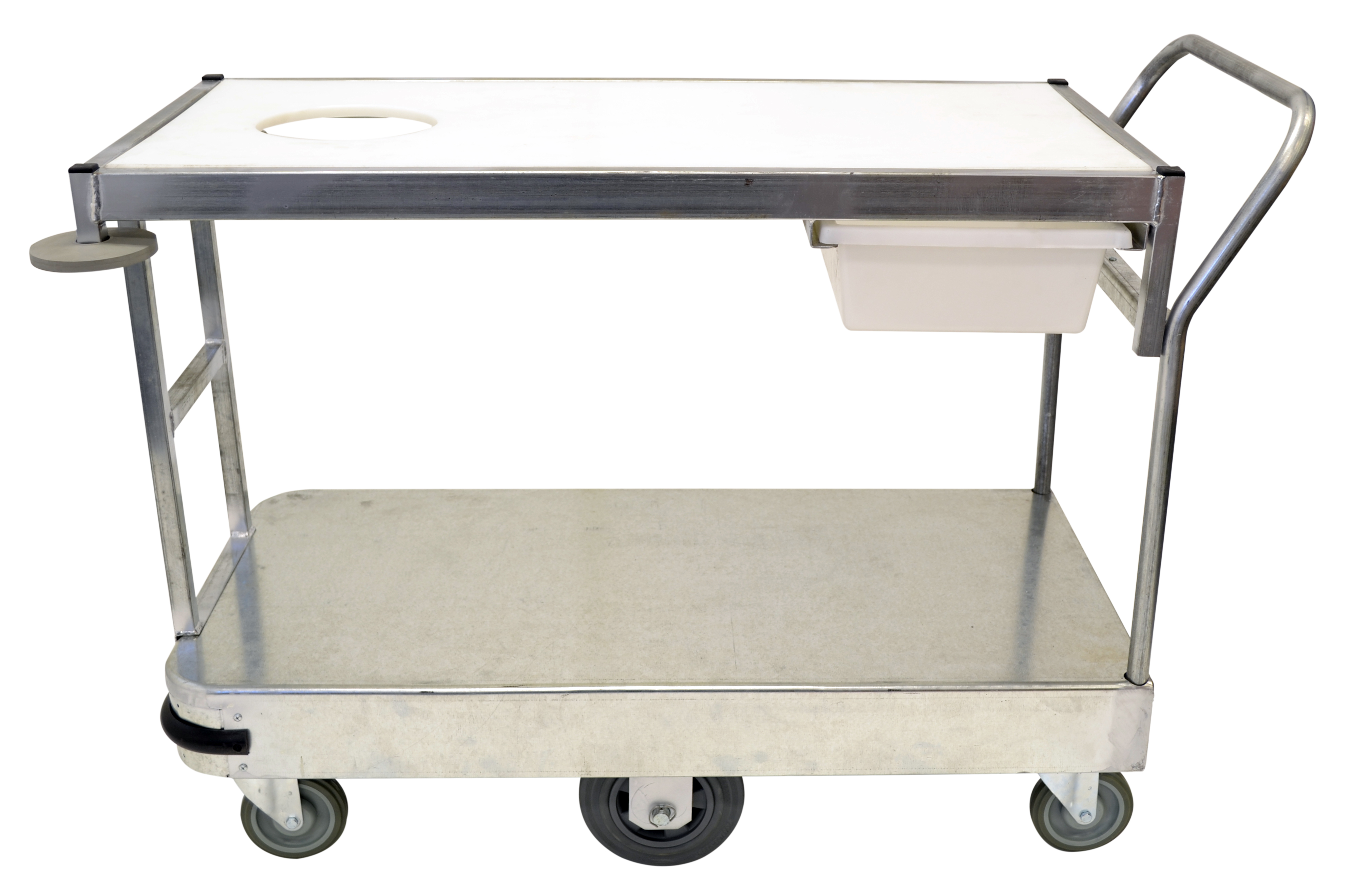 This fruit & vegetable trolley is made for trimming and preparing produce while topping up stock in the sales area. With its polyethylene chopping board on the top & knife utility drawer, it's the perfect trolley for fruit shops & produce departments.