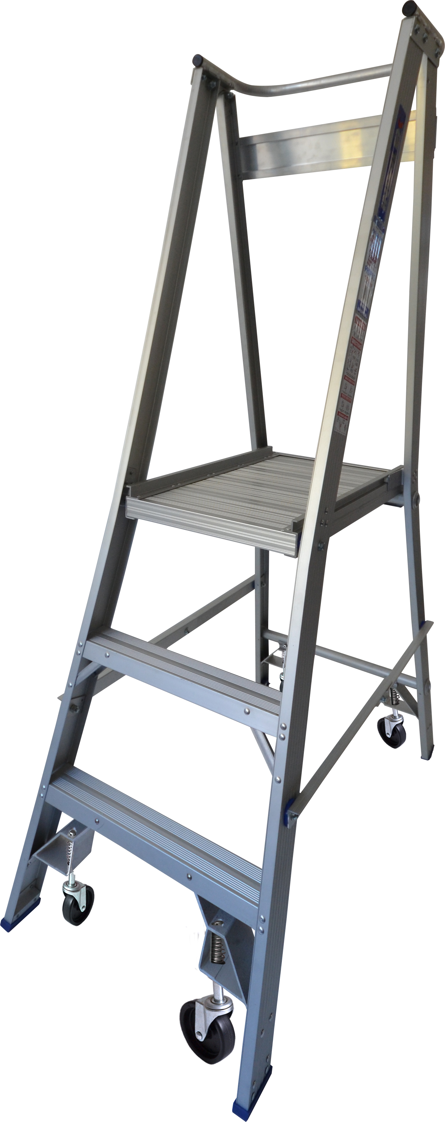 Our 3 step aluminium platform ladders have 150kg capacity, 0.6M platform height & 1.5M total height. It's constructed using high tensile structural aluminium alloy, solid 90cm high guard rail, anti slip work platform & moulded feet for added safety.