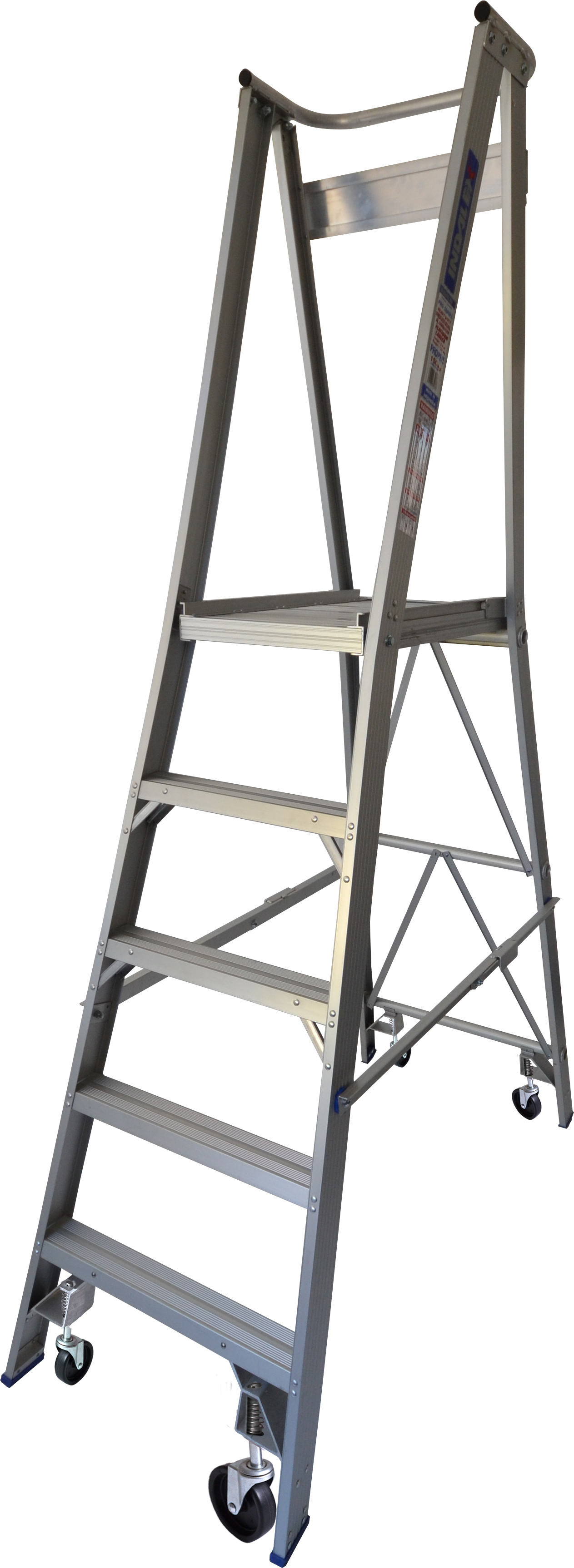 Our 5 step aluminium platform ladders have 150kg capacity, 1.5M platform height & 2.4M total height. It's constructed using high tensile structural aluminium alloy, solid 90cm high guard rail, anti slip work platform & moulded feet for added safety.