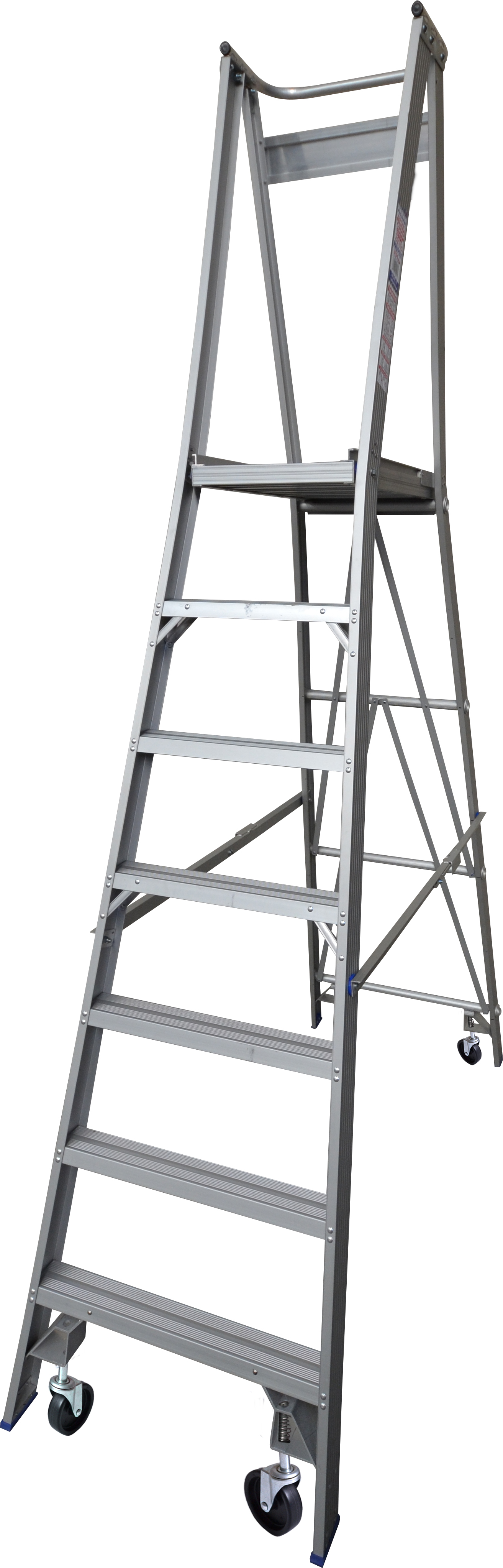 Our 7 step aluminium platform ladders have 150kg capacity, 2.1M platform height & 3.0M total height. It's constructed using high tensile structural aluminium alloy, solid 90cm high guard rail, anti slip work platform & moulded feet for added safety.