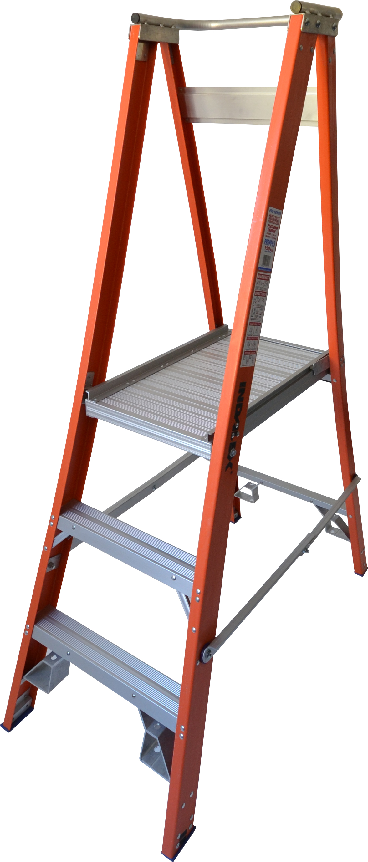Our 3 step fiberglass platform ladders have 150kg capacity, 0.6M platform height & 1.5M total height. With solid 90cm high guard rail & anti slip work platform, its non conductive and conforms to Australian safety standards.