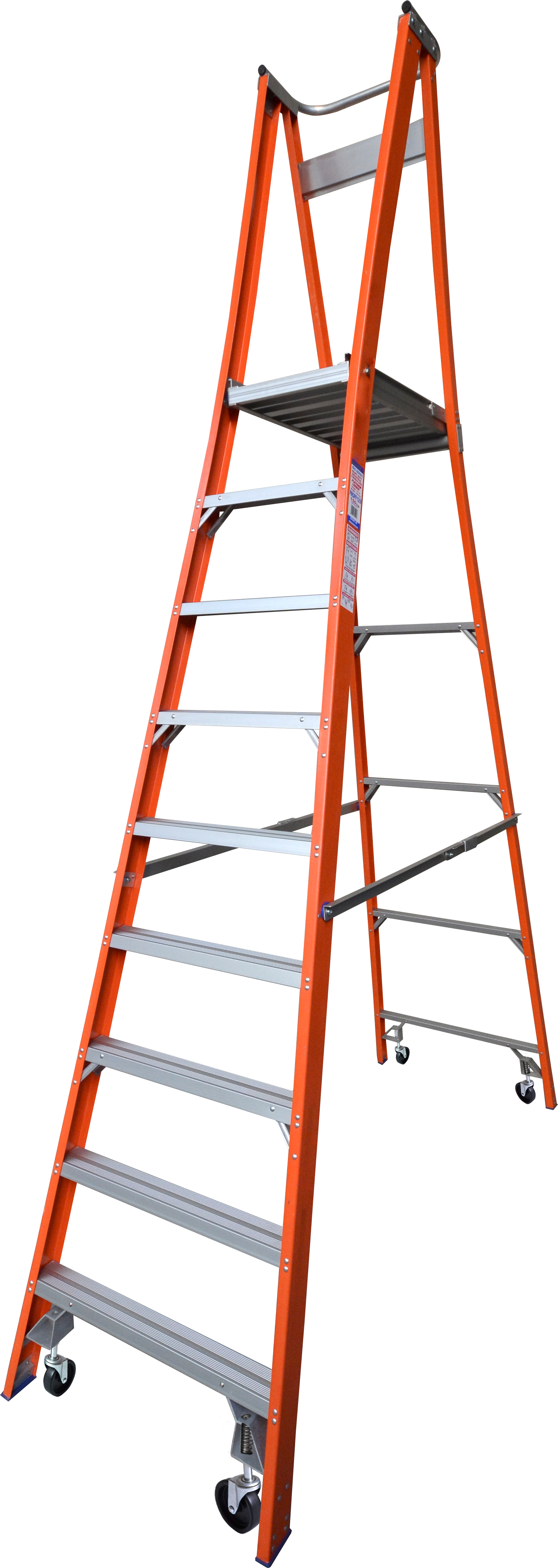Our 9 step fiberglass platform ladders have 150kg capacity, 2.7M platform height & 3.7M total height. Its non conductive, with solid 90cm high guard rail & anti slip work platform. Made to conforms to Australian safety standards.