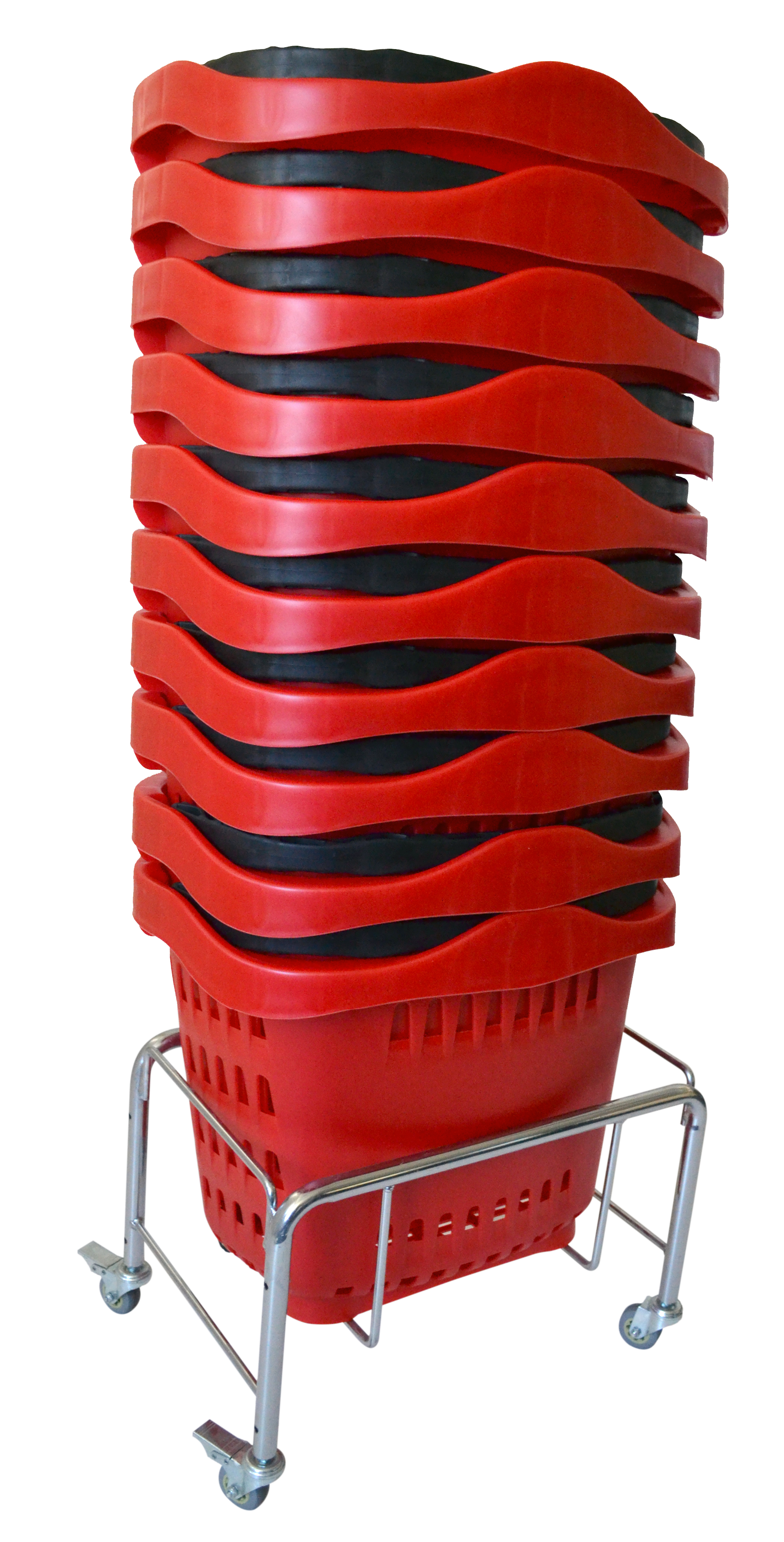 Our shopping basket stands for sale are a must have for any retail store. Keep your shopping baskets neatly stacked & move your metal basket stands with ease. Manufactured with strong heavy duty chrome steel tube and a capacity to hold up to 100kg.